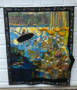 """In the Lake"" The cabin quilt - as seen through the eyes of the fish."